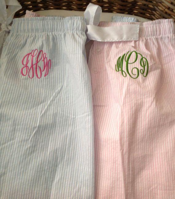 Seersucker Monogrammed Pajama Pants- $24.65