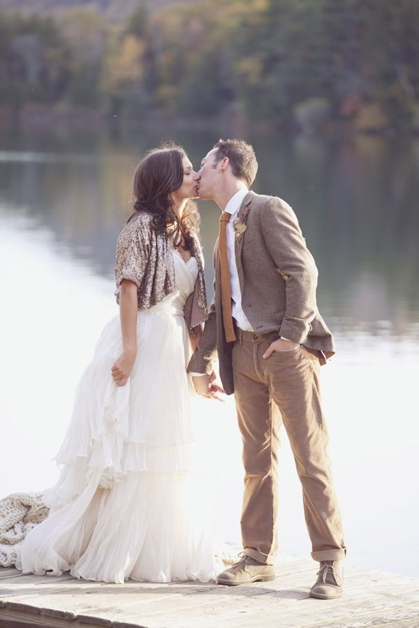 Lakeside New Hampshire Wedding - that dress and that shrug... just gorgeous... it's too late for me but someone pull this together for their wedding too!