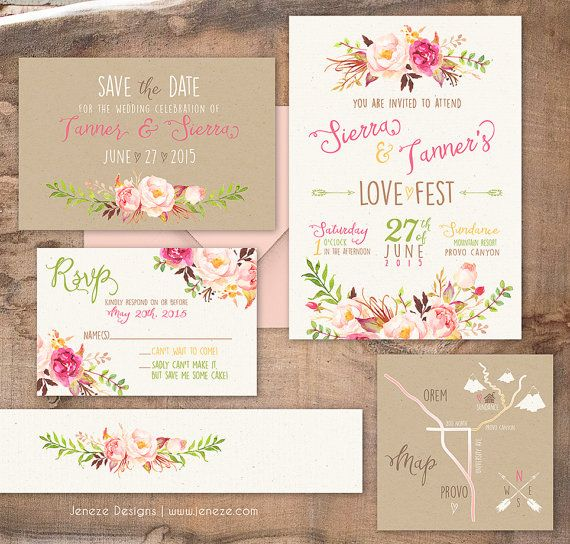 Boho Chic Wedding Invitation - Custom Wedding Invitation Set for a summer or…