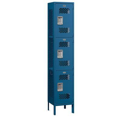 "Salsbury Industries 3 Tier 1 Wide Employee Locker Size: 78"" H x 15"" W x 15"" D, Color: Gray"