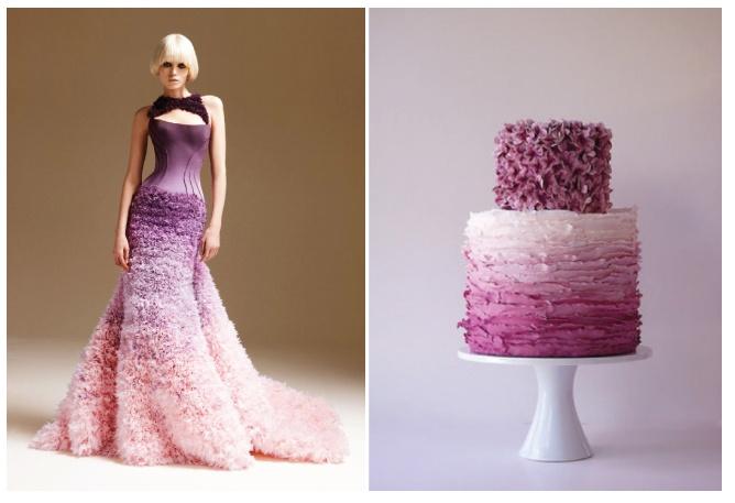 Nieuwe trouwtrend 'Ombre'. Gebruik van schaduw en verschillende kleurlaagjes. Versace maakte deze prachtige jurk met bijpassende taart. Leuk idee om je hele bruiloft in 'Ombre'-stijl te houden!