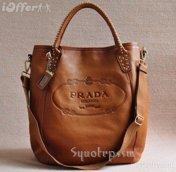 PRADA REAL LEATHER HANDBAG SHOULDER BAG BROWN NEWEST Diese und weitere Taschen auf www.designertaschen-shops.de entdecken