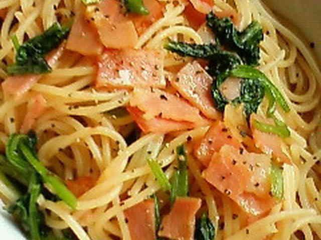 ランチに♪小松菜とベーコンの和風パスタの画像