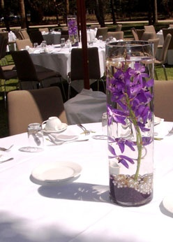 112 best weddings images on pinterest au diy wedding centerpieces purple orchid centerpiece with pearls perfect for an outdoor wedding centerpiece junglespirit Images