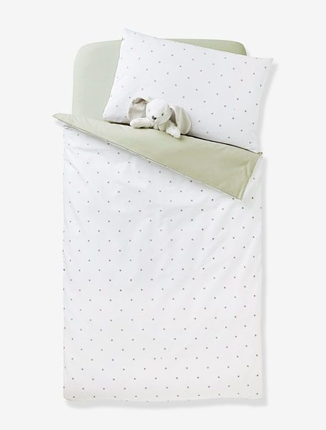 A shower of little stars adorns this beautiful duvet cover, exuding delicacy and fine quality.   SIZE: 80 x 120 cm and 100 x 120 cm.  1 side all-over star print on a white background. 1 side plain grey. Envelope-style opening.  WHAT YOU NEED TO KNOW:  Excellent colourfastness after repeated washing. Bed size 60 x 120 cm: choose duvet cover 80 x 120 cm. Bed size 70 x 140 cm: choose duvet cover 100 x 120 cm. Team with the matching pillowcase and fitted sheet available on the website. Duvet…