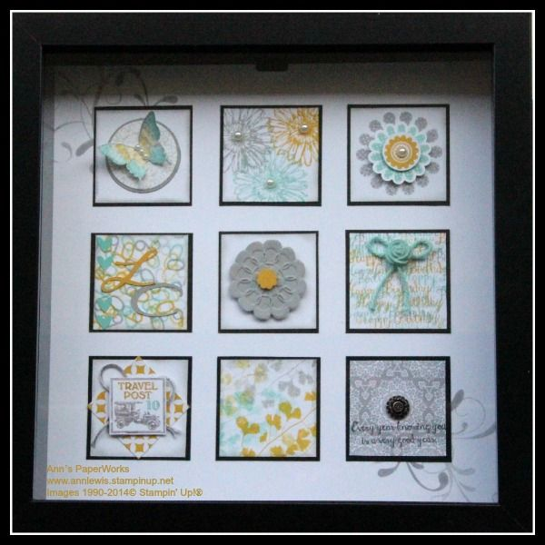 Miniature Nine Shadow Box - Coastal Cabana, Smoky Slate and Crushed Curry - Polka Dot Pieces, Bloom with Hope Stamp Set