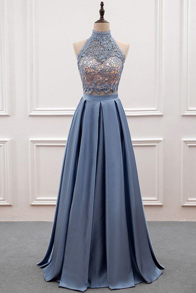 A-line Princess Lace   Satin Halter Cut-out Back Prom Dress  978e9276e9b1