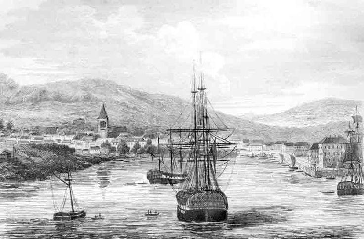 Sullivan's Cove Hobarton. B&W gravure based on the artwork of M. de Sainson. M. Dumont D'Urville, Voyage Pittoresque autour du Monde