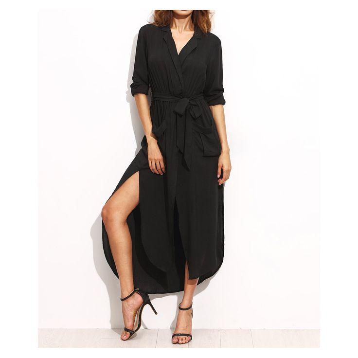 Black 3/4 Sleeve Belted Split Maxi Shirt Dress