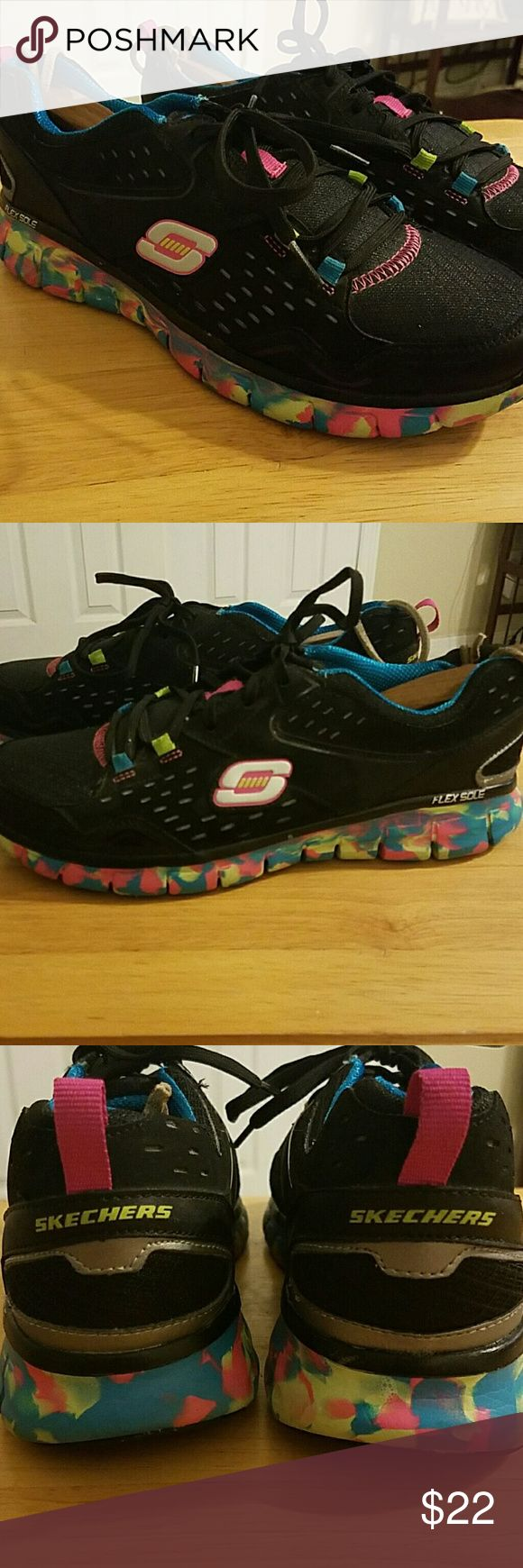 Skechers  ladies joggers with flex sole Ladies Skechers size 9 in EUC with flex sole and comfort support and multi colored tread. Skechers Shoes Athletic Shoes