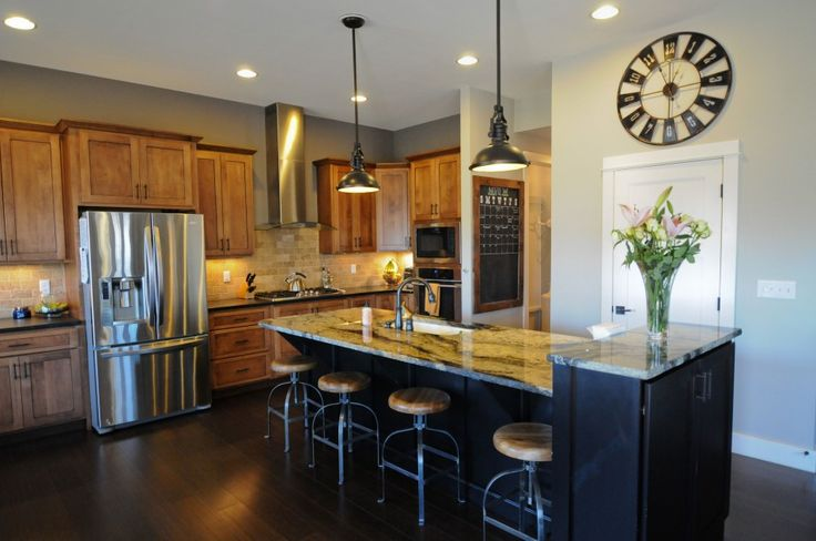 Kitchen, Elegant Minimalist Brown And White Kitchen Ideas With Four Bar Stools Side By Side Refrigerator Bottom Freezers A Single Big Clock With Two Pendant Lamps And Countertops And Wooden Kitcen Cabinet: Awesome Uniquely Kitchen Cabinet Styles