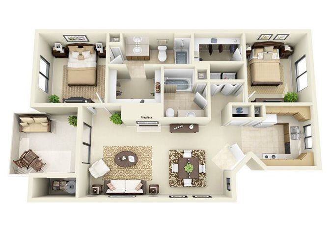 The Sonoran 2 Bedroom 2 Bathroom Floor Plan Small House Interior Design Sims House House Floor Design