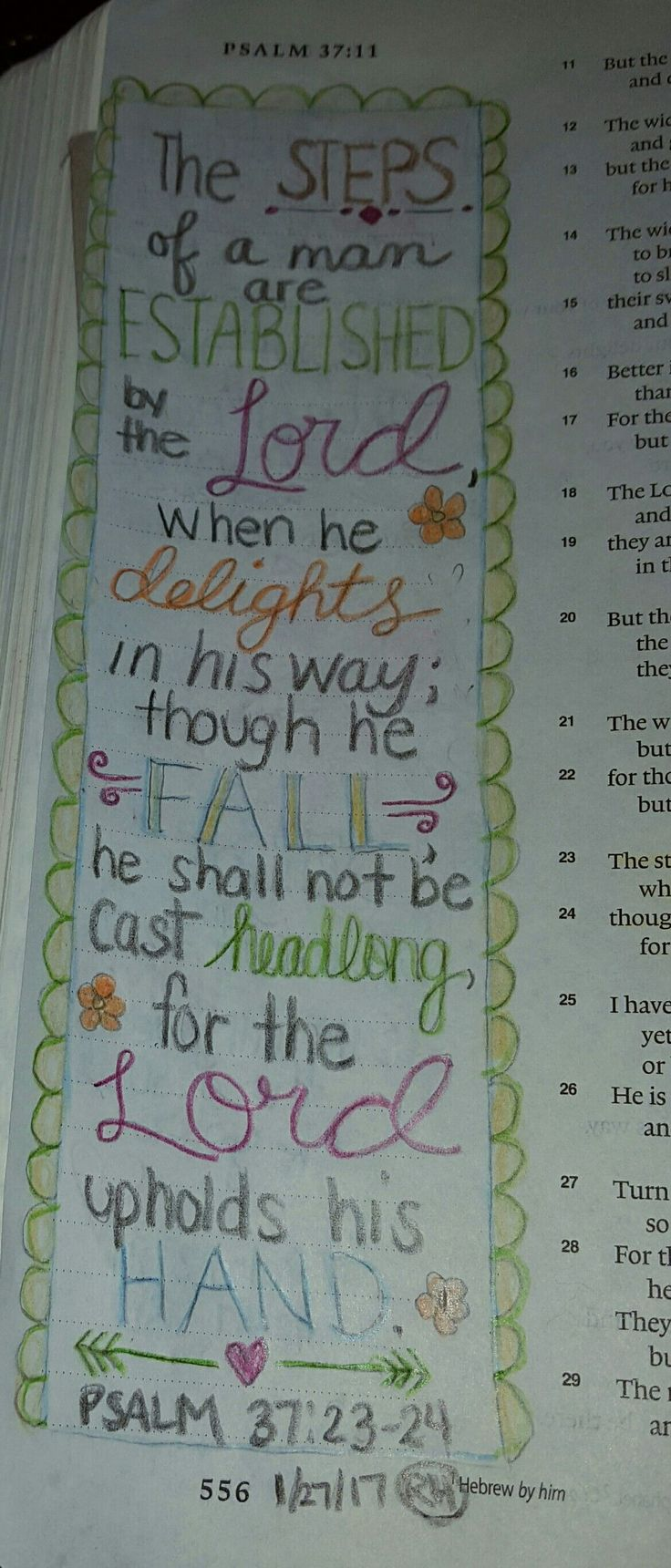 Image result for Psalm 37:23-24 bible journaling
