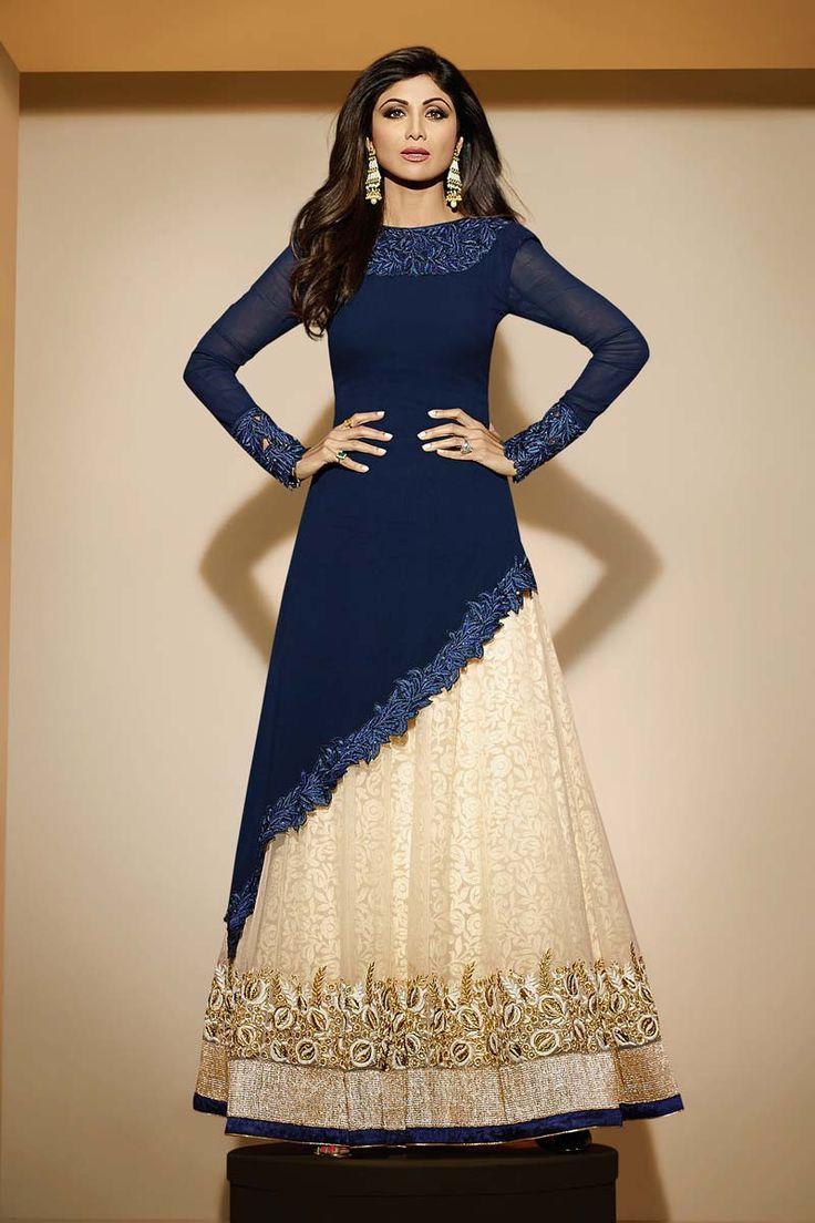 Blue Georgette Designer Suit