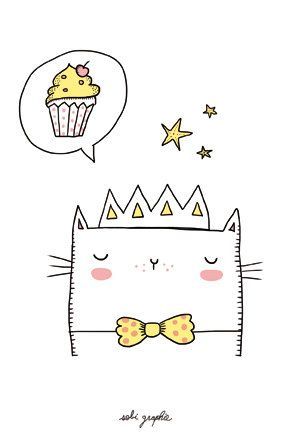 Cards A6  10 x 15 cm  Paper: 350 gr    choose between the Unicorn and cupcake cat etc  Shipped within 5 days.    Any illustration benefits of                                                                                                                                                                                 Mais
