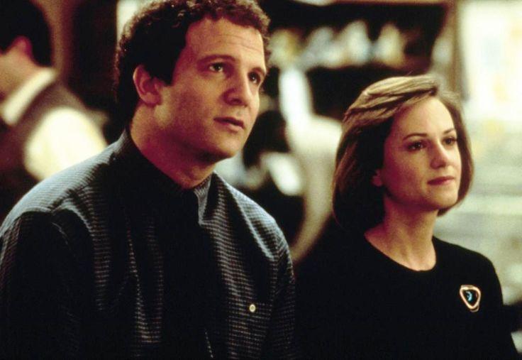 """""""Broadcast News"""" movie still, 1987.  L to R: Albert Brooks, Holly Hunter."""