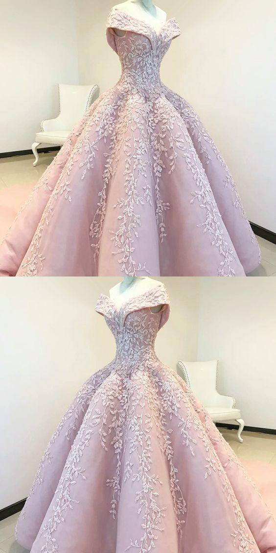 Schulterfreies Ballkleid Rosa Langes Abendkleid mit Applikationen ML1060 von moonlig …   – Ball Gowns