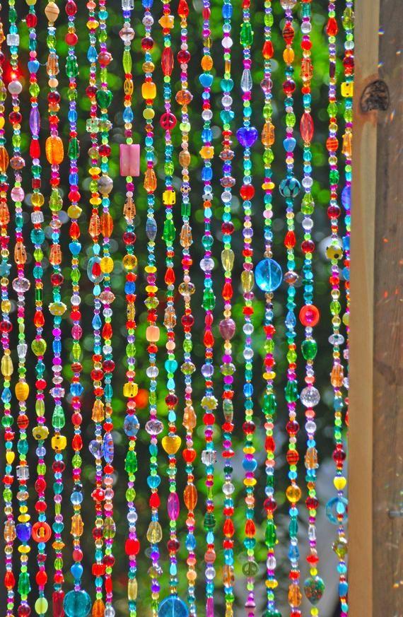 Colorful Bohemian Beaded Curtain Sun Catcherdoor Hand Made Etsy