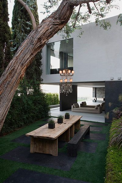 Modern outdoor terrace in spectacular Hollywood Hills mansion overlooking Los Angeles