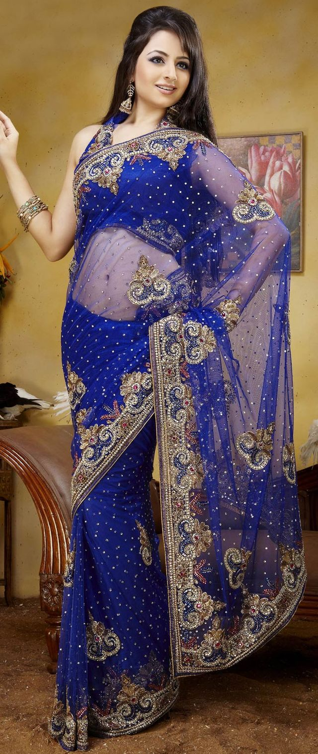 Blue Net Saree with Blouse $ 260.42