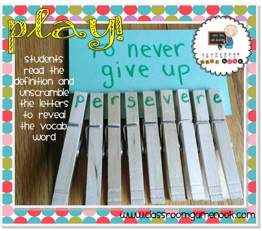 Monday Make and Take: Clothespins Vocab