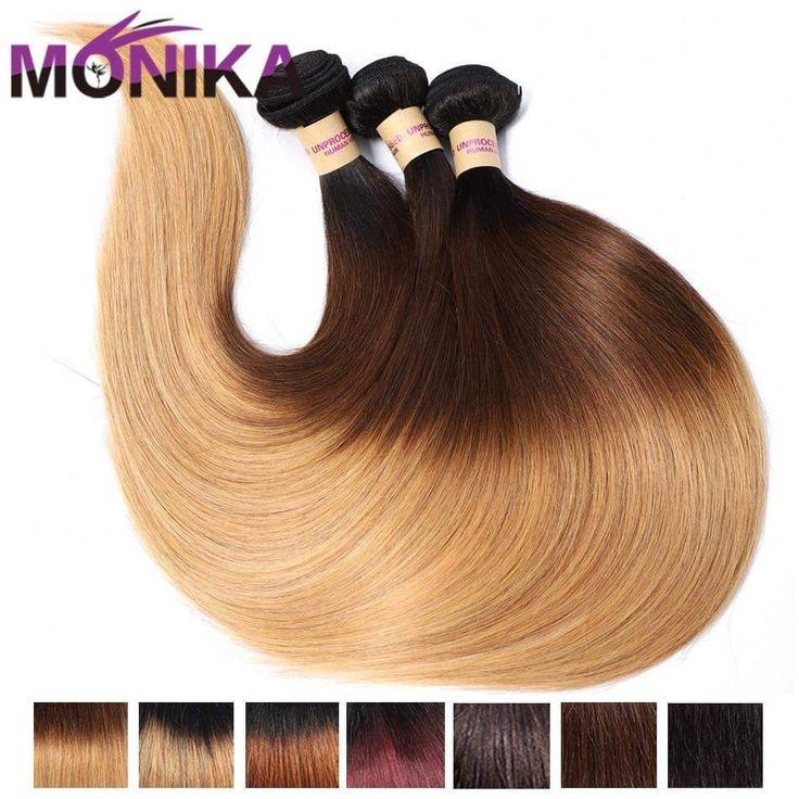 Monika Hair Peruvian Straight Hair Weave 3/4 Bundles Honey Blonde 1…