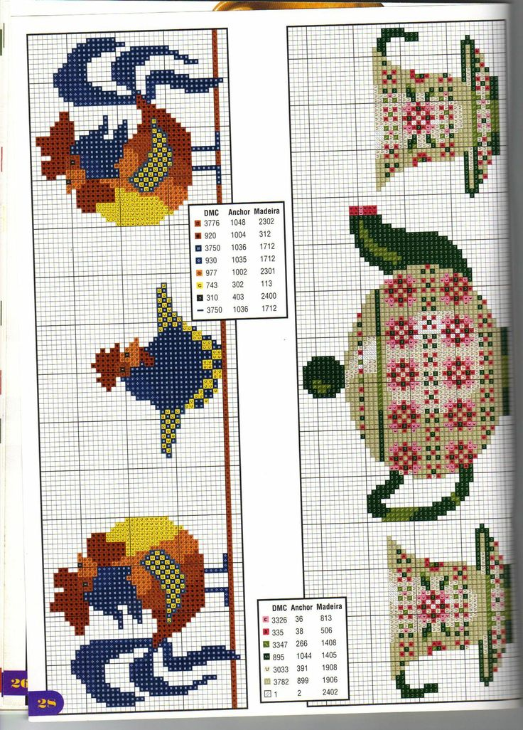 Rooster and teapot x-stitch