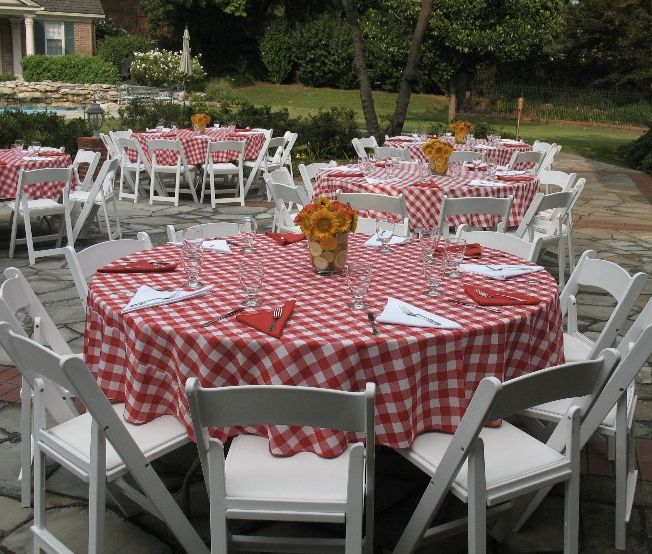 Gingham wedding reception the paisley press the bbq for Gingham decorating ideas