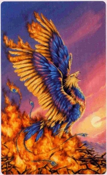 `.Phoenix, rebirth and renewal...The phoenix is a mythical bird which consumed itself by fire every 500 years and a new young phoenix sprang from its ashes.Legend has it that the phoenix lands on nothing but the greatest treasures. It is the highest-ranked bird in China and