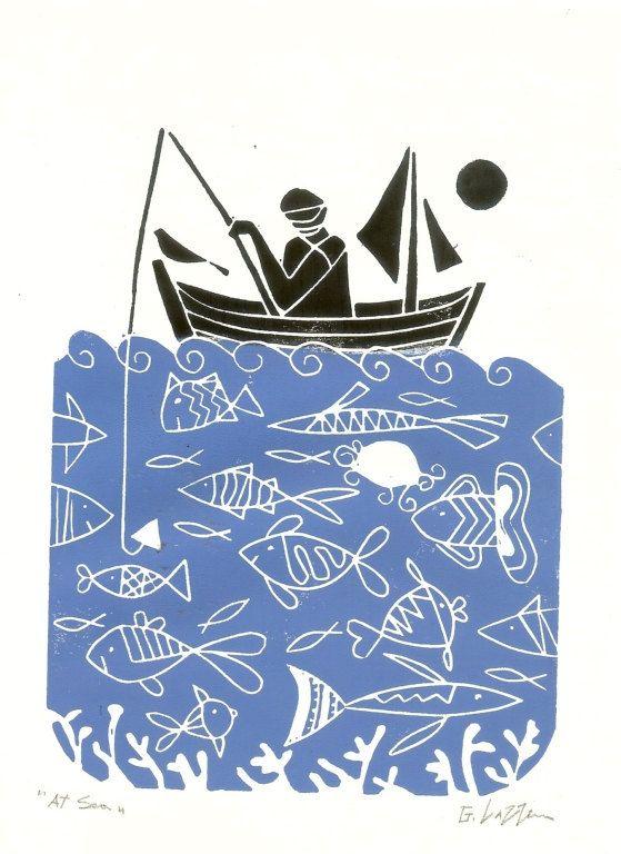 Fischer-Linolschnitt, Fathers Day Geschenk - Fische & Blue Sea - blau Art Linoprint - Druckgrafik Hand gezogen Print signiert Giuliana Lazzerini.