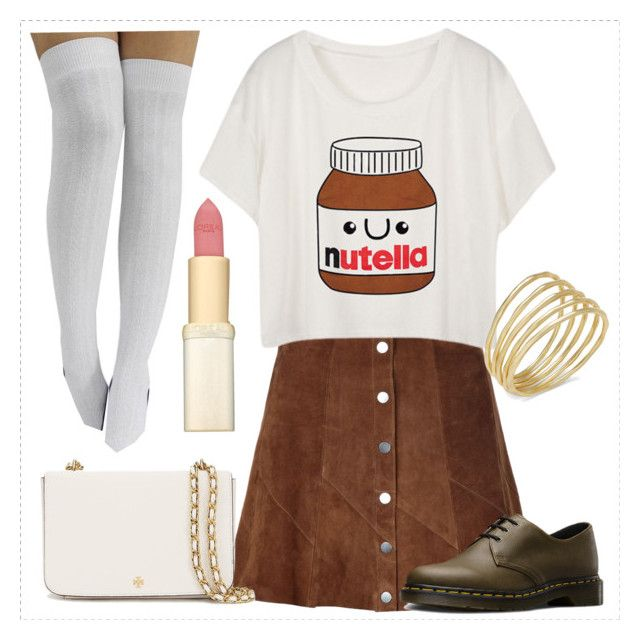 """""""Outfit Oriented: T-Shirt and Skirt Entry"""" by haybeebaby ❤ liked on Polyvore featuring A.L.C., Dr. Martens, Tory Burch, Lauren Ralph Lauren and L'Oréal Paris"""