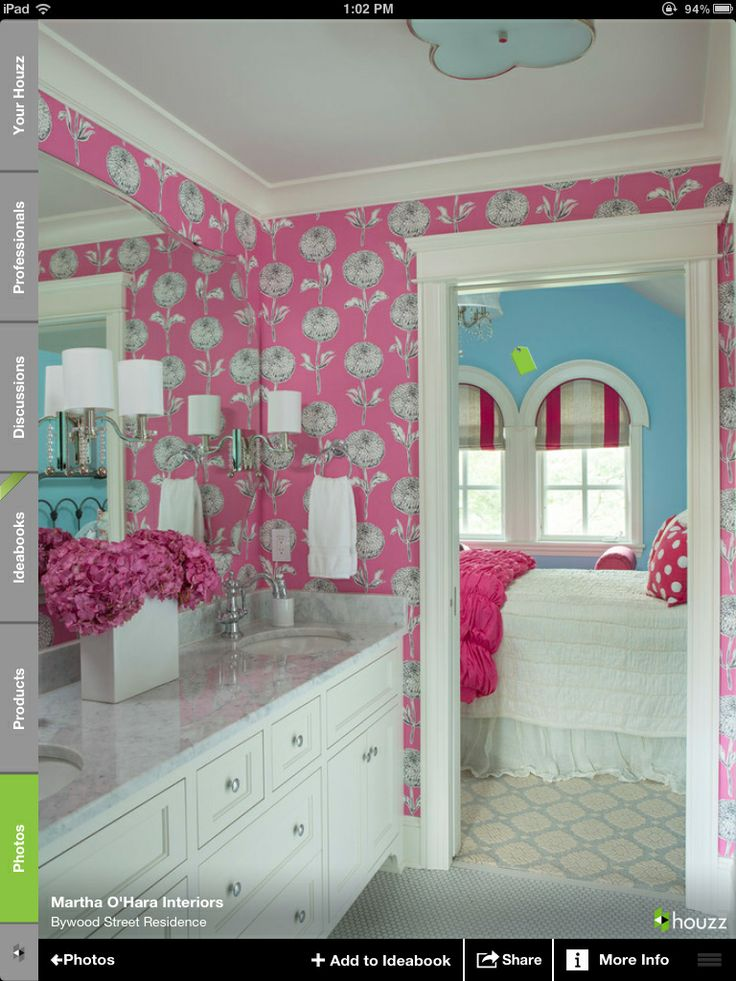 I love the wallpaper in the bathroom and the blue on the bedroom walls....