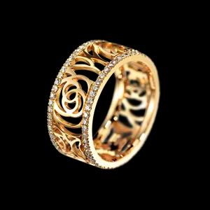 Chanel Camelia Ajoure Yellow Gold and Diamond Ring Profile Photo