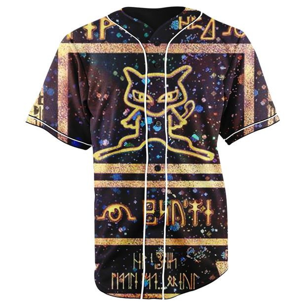 Ancient Mew Pokemon Card Button Up Baseball Jersey