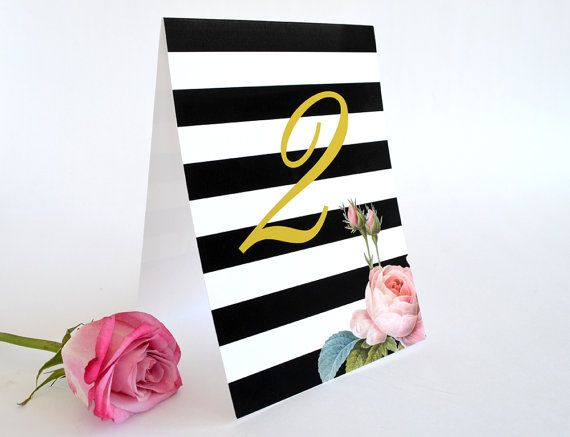 Wedding table numbers, floral table numbers, striped black and white table numbers, modern table numbers by Daydream Prints