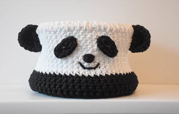 Toy box Panda Crochet basket Panda Round box Storage basket