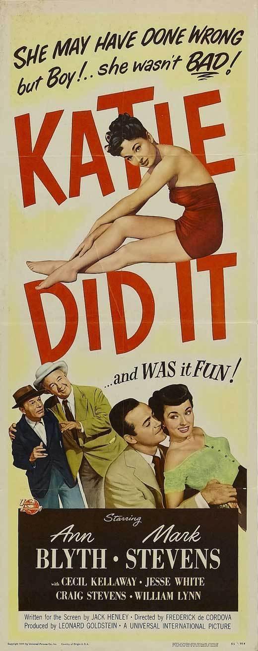 Katie Did It Movie Poster Ann Blyth Mark Stevens Cecil Kellaway