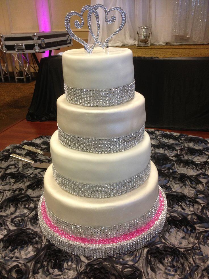Glitter And Bling Wedding Cake 2 Tiers Pearl Shimmer Fondant Plain White