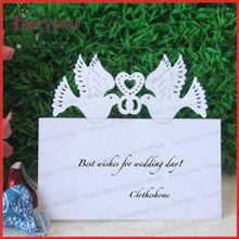 24 pz love birds nome luogo della carta carta tagliata al laser carte di vino di vetro tazza tavolo mark favori titolare di nozze partito decorazione(China (Mainland))