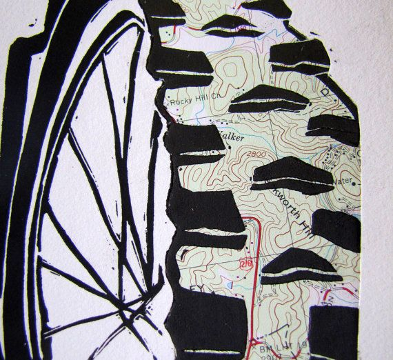 Custom Mountain Bike Art Topo Map Linocut Relief Print - Printmaking Collage Mountain Biking Trail Bicycle by coffee in bed on etsy