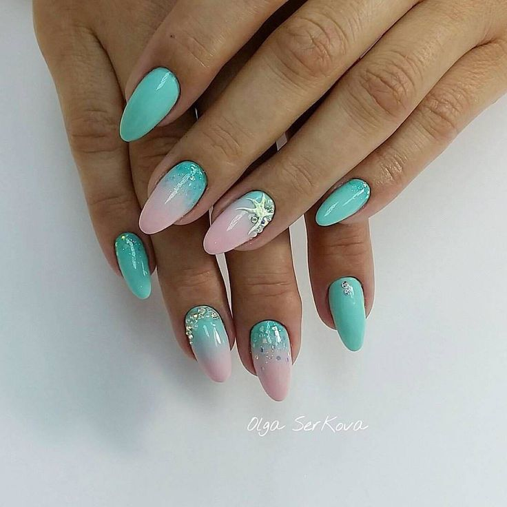 Color transition nails, Gel polish sea nails, Ideas of ombre nails, Marine nails, Oval nails, overflow nails, Pink and turquoise nails, Sea nails ideas