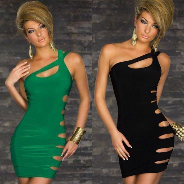 Платье, женское сексуальный Клубная одежда вечернее сексуальный вырезать стороны Клубная одежда черный зеленый 2 цвета девочка женщины клуб платья