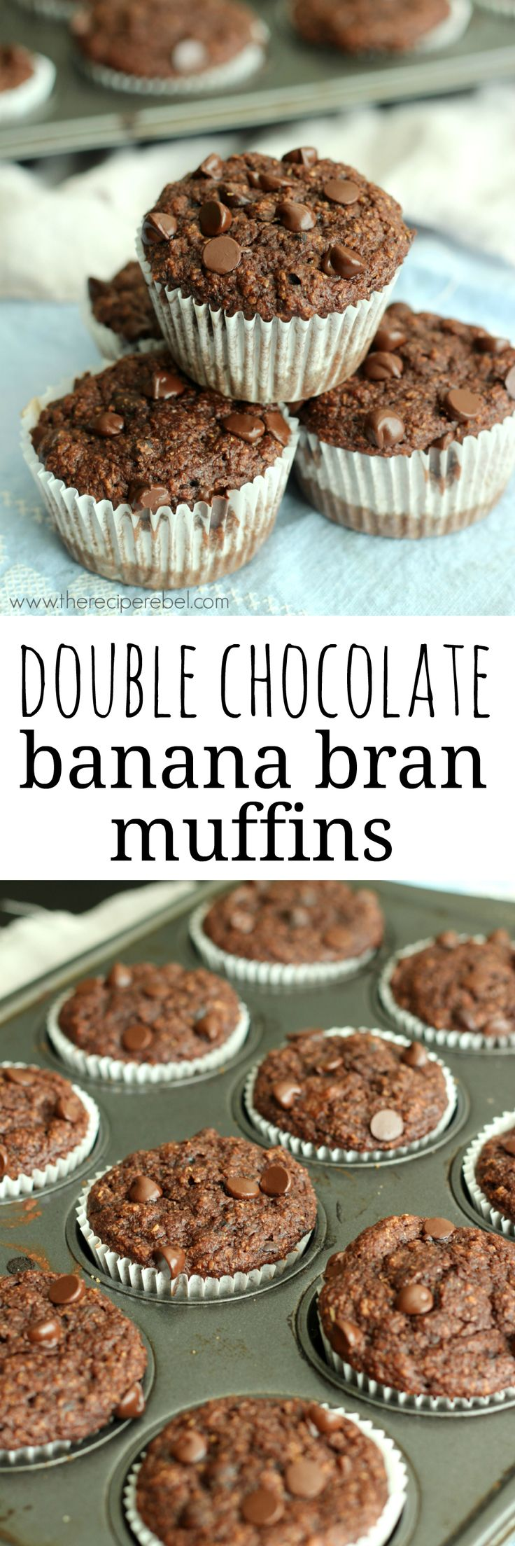 Rich, fudgy bran muffins featuring chocolate and banana -- so good you could eat them for dessert! I promise you can't even taste the bran (Fall Bake Treats)
