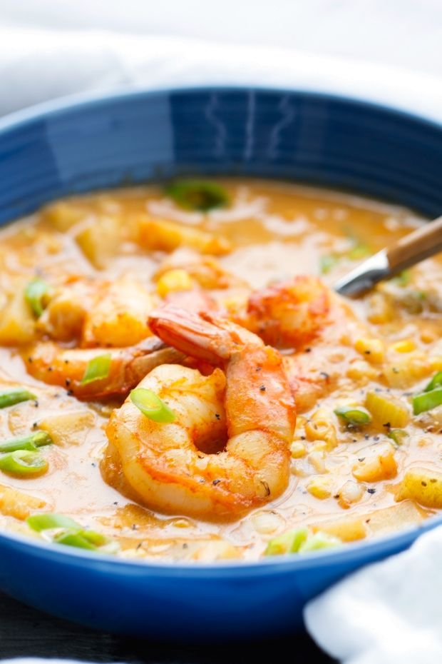 Loaded with potatoes & lots of #flavor, this Shrimp and Corn Chowder is the best addition to your mealtime menu.  Pair it with a crunchy bread to round out the meal.