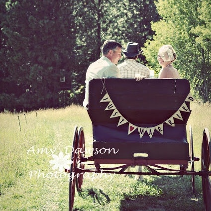 just married wedding banner sign photo prop burlap rustic