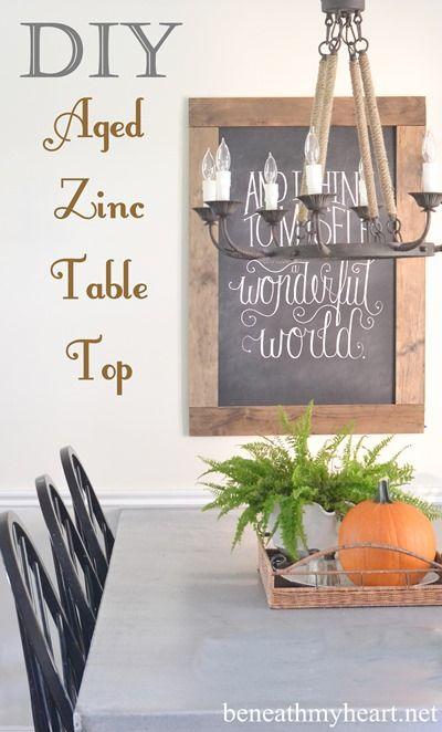 DIY Aged Zinc Table Top