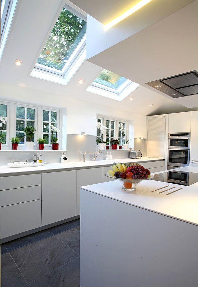 Мансардные окна в интерьере кухни
