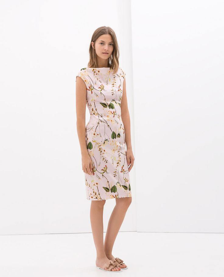 Image 1 of PRINTED DRESS WITH FUNNEL COLLAR from Zara