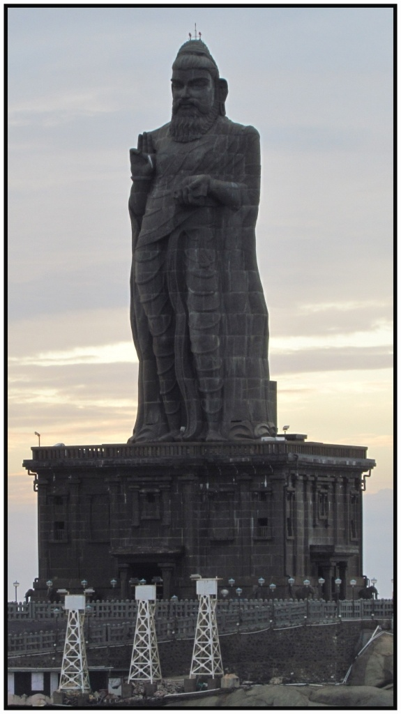 The #Thiruvalluvar Statue is a 133 feet (40.6 m) tall stone sculpture of the Tamil poet and saint Tiruvalluvar, author of the Thirukkural. It was opened on January 1, 2000 and is located atop a small island near the town of Kanyakumari, where two seas and an ocean meet; the Bay of Bengal, the Arabian Sea, and the Indian Ocean .