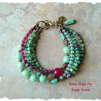 Bohemian Jewelry, Multiple Strands, Colorful Beaded Bracelet, Ruby and Mint, Boho Hippie Gypsy, Boho Style Me, Kaye Kraus